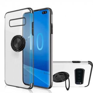 Samsung Galaxy S10 - Прозрачен силиконов калъф с въртящ се пръстен и черни ръбове