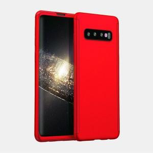 Samsung Galaxy S10e Червен 360 ° Matte Premium ултра тънък калъф със стъклено фолио