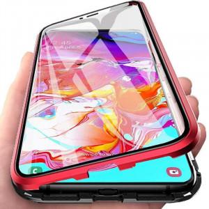 Калъф за Samsung Galaxy S10e с пълна 360 ° защита с прозрачна магнитна закопчалка с червени ръбове