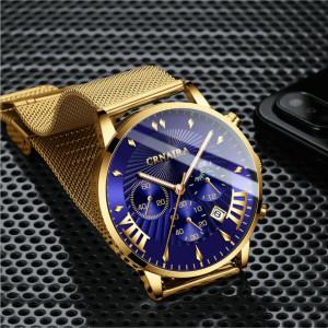 Мъжки часовник Crnaira-1, Quartz, Аналогов, Синьо златист цвят