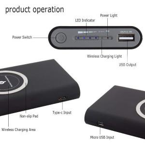 Baterie externa cu capacitate 10000 mAh wireless QI , ACU-001 NEGRU