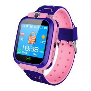 Ceas smartwatch GPS copii, monitorizare locatie, camera foto frontala, buton SOS, functie telefon , roz - Q12B-ROZ