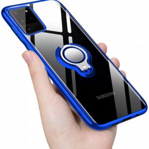 Husa Samsung Galaxy S20 ULTRA din Silicon Transparenta cu Inel Rotativ Contur si Margini Albastre