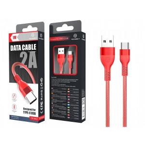USB кабел Тип C 2A 1 M червен, PMTF056673