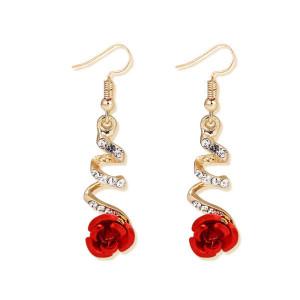 Дамски обеци, red rose -златист цвят CD033