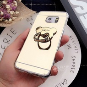 Златист силиконов калъф с пръстен  Mirror Gold за Samsung Galaxy S7 Edge