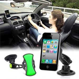 Универсална стойказа предното стъкло на колата GripGo за телефони, GPS, таблети с въртене на 360 градуса - син - GR011124