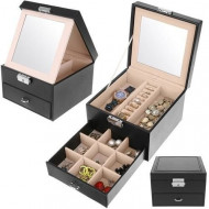 Caseta bijuterii cu oglinda, sertar, piele ecologica,PM-0006, 31x16x25 cm, neagra