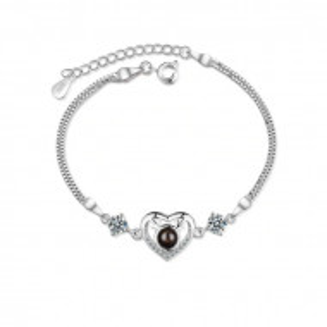 """Гривна """"Обичам те"""" на 100 езика deer heart - argintiu BR322-V1"""