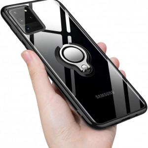 Прозрачен силиконов калъф на Samsung Galaxy S20 PLUS с въртящ се пръстен и черни ръбове
