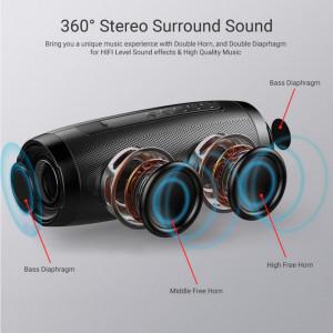 Bluetooth 157 стерео високоговорител - червен, преносим, FM радио, USB, Aux, TF карта, многоцветна околна светлина