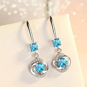 Дамски обеци, blue flower - сребрист CD025