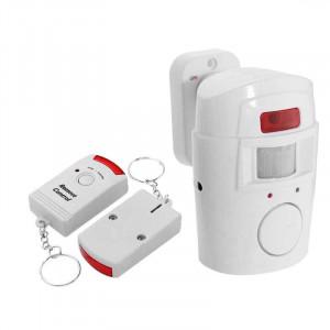 Инфрачервен безжичен детектор за движение, 105dB аларма и 2 дистанционни управления, радиус на откриване 110 градуса