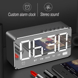 Многофункционален настолен часовник, LED, преносим високоговорител, Bluetooth, огледален дисплей