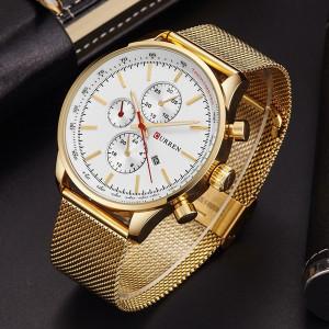 Мъжки часовник CR8227-Златист / Бял
