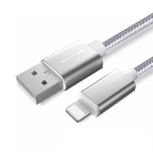 Сребърен кабел за зареждане или прехвърляне на данни за iPhone Apple Lighting USB - 1.5 м