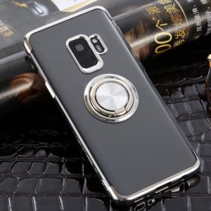 Samsung Galaxy S9 - Прозрачен силиконов калъф с въртящ се пръстен и сребърни ръбове
