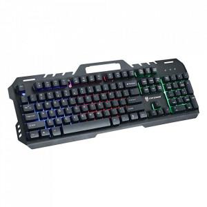 Tastatura Metalica Gaming GT-5, Iluminate LED, USB, Suport Smartphone