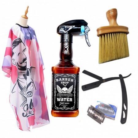 Set complet frizerie barber Berlin cu pulverizator sticla Whisky brici metalic manta barbershop