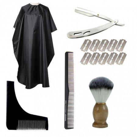 Set ingrijire barba pentru barbati brici manta pamatuf pieptene Fabios