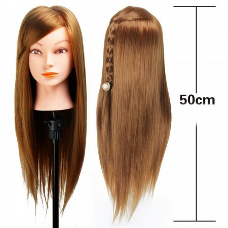 Poze Cap practica manechin salon frizerie coafor Lung Des Sintetic 50cm Blond Inchis Auriu