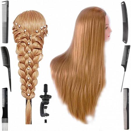 Poze Cap practica manechin salon frizerie coafor Lung Natural 80 cm Blond + 6 Piepteni carbon