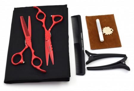 Set foarfece de tuns si filat Ardette model Opax08 cu 7 piese manta, clipsuri si piepten pentru frizerie
