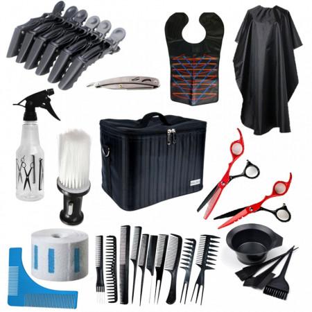 Poze Set kit frizerie coafor foarfeca tuns filat pelerina vopsit piepteni geanta brici metalic NEOO