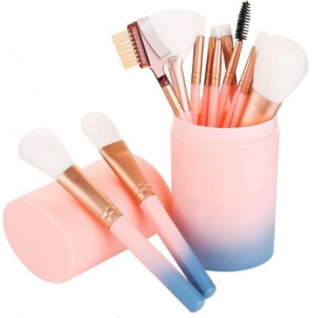 Poze Set 12 pensule machiaj makeup profesionale cu suport tub curcubeu
