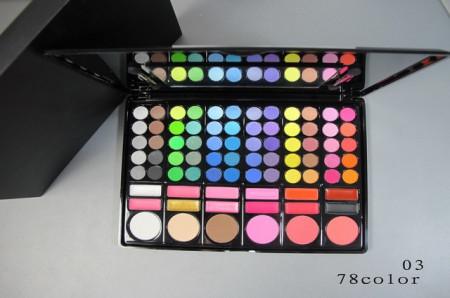 Trusa machiaj 78 culori + 24 pensule make up + fond de ten + ruj