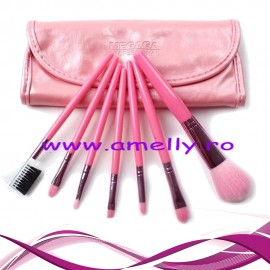 Poze Set 7 pensule make up cu borseta roz Megaga professional