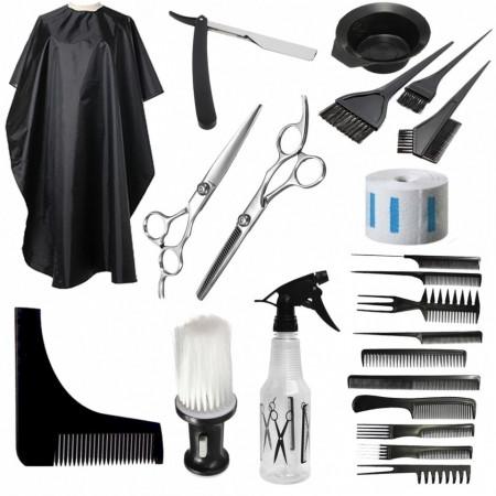 Poze Set accesorii si ustensile frizerie coafor foarfeca tuns filat manta brici piaptan barba BORRO