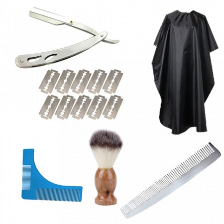Set kit ingrijire barba barber brici manta pamatuf pieptene metalic JK8