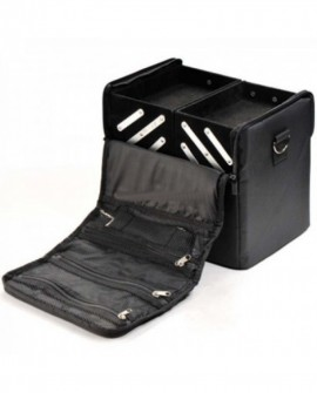 Geanta pentru produse cosmetice machiaje negru cu sertare NOU
