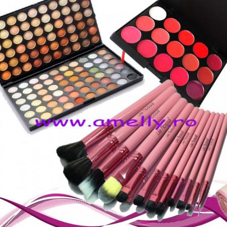 Set machiaj profesional 120 nuante Natur + paleta ruj 15 nuante + 12 pensule lilla rossa