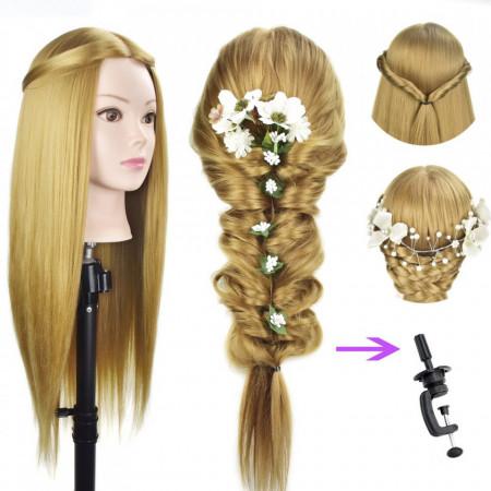 Cap practica manechin salon frizerie coafor Lung Des Sintetic 50cm Blond CPB03
