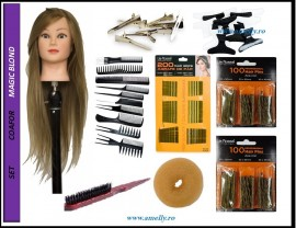 Poze Set kit frizerie coafor complet MAGIC BLOND cu manechin salon agrafe ace de coc si agrafe
