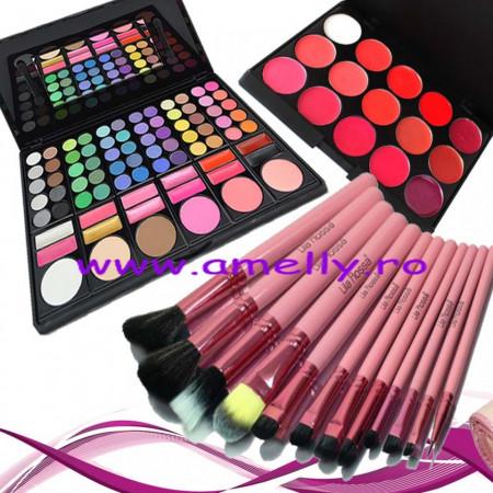 Kit machiaj perfect trusa 78 nuante + 12 pensule pink + paleta rujuri 15 culori