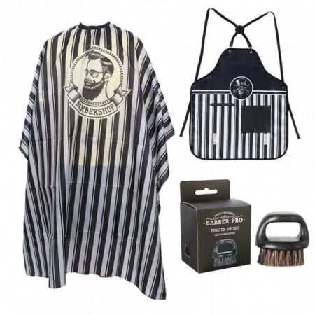 Set accesorii si ustensile frizerie coafor manta sort complementar pamatuf barba