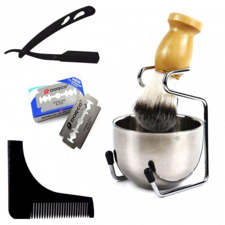 Poze Set complet barber cu brici metalic suport pamatuf si bol pentru ras barba