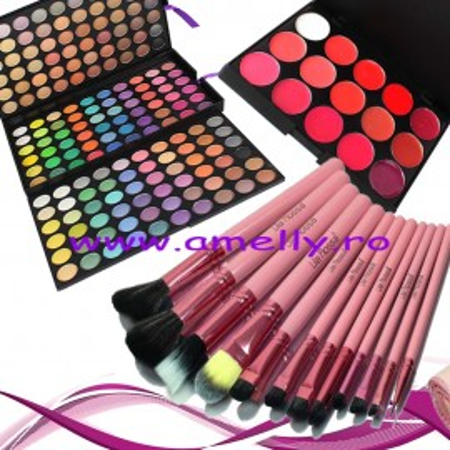 Poze Set make up trusa 180 culori + 12 pensule roz + 15 nuante ruj buze