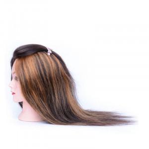 Cap practica manechin salon frizerie coafor Natural 100% pentru vopsit 50 cm Saten