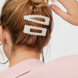 Set cap practica manechin Denisa Saten Natural 80% cu ace agrafe cu perle coc exersat coafuri impletituri salon frizerie