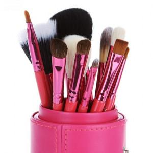 Trusa machiaj 15 culori NUDE + set 12 pensule make up + Rujuri + Fond de ten