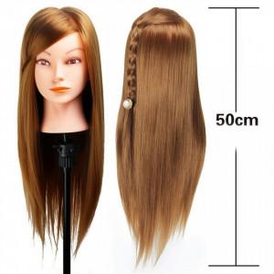 Cap practica manechin salon frizerie coafor Lung Des Sintetic 50cm Blond Inchis Auriu