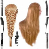 Cap practica manechin salon frizerie coafor Lung Natural 80 cm Blond + 6 Piepteni carbon