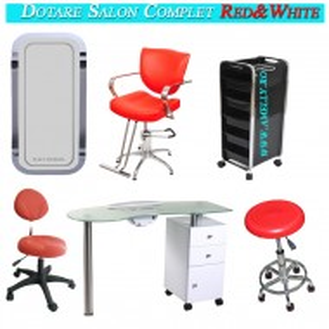 Dotare salon frizerie coafor infrumusetare mobilier saloane Red&White