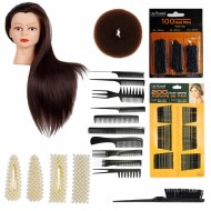Set cap practica manechin Denisa Saten Natural 80% cu ace agrafe cu perle coc exersat coafuri impletituri salon frizerie