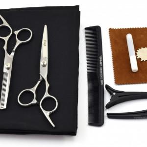 Set foarfece de tuns si filat Ardette model Opax10 cu 7 piese pelerina, clame si piepten pentru frizerie