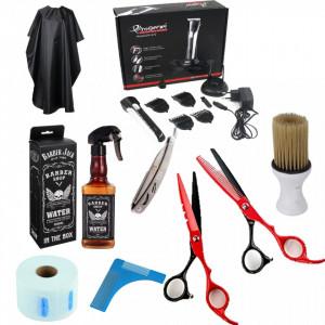 Set kit frizerie coafat Deluxe cu foarfeca tuns filat masina brici piaptan barba